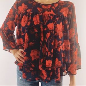 A New Day by Target blue with red floral blouse S